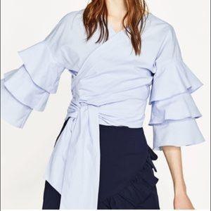 Zara Ruffle Wrap Top
